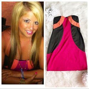 Black, Pink & Orange Bright Mini Dress size Large